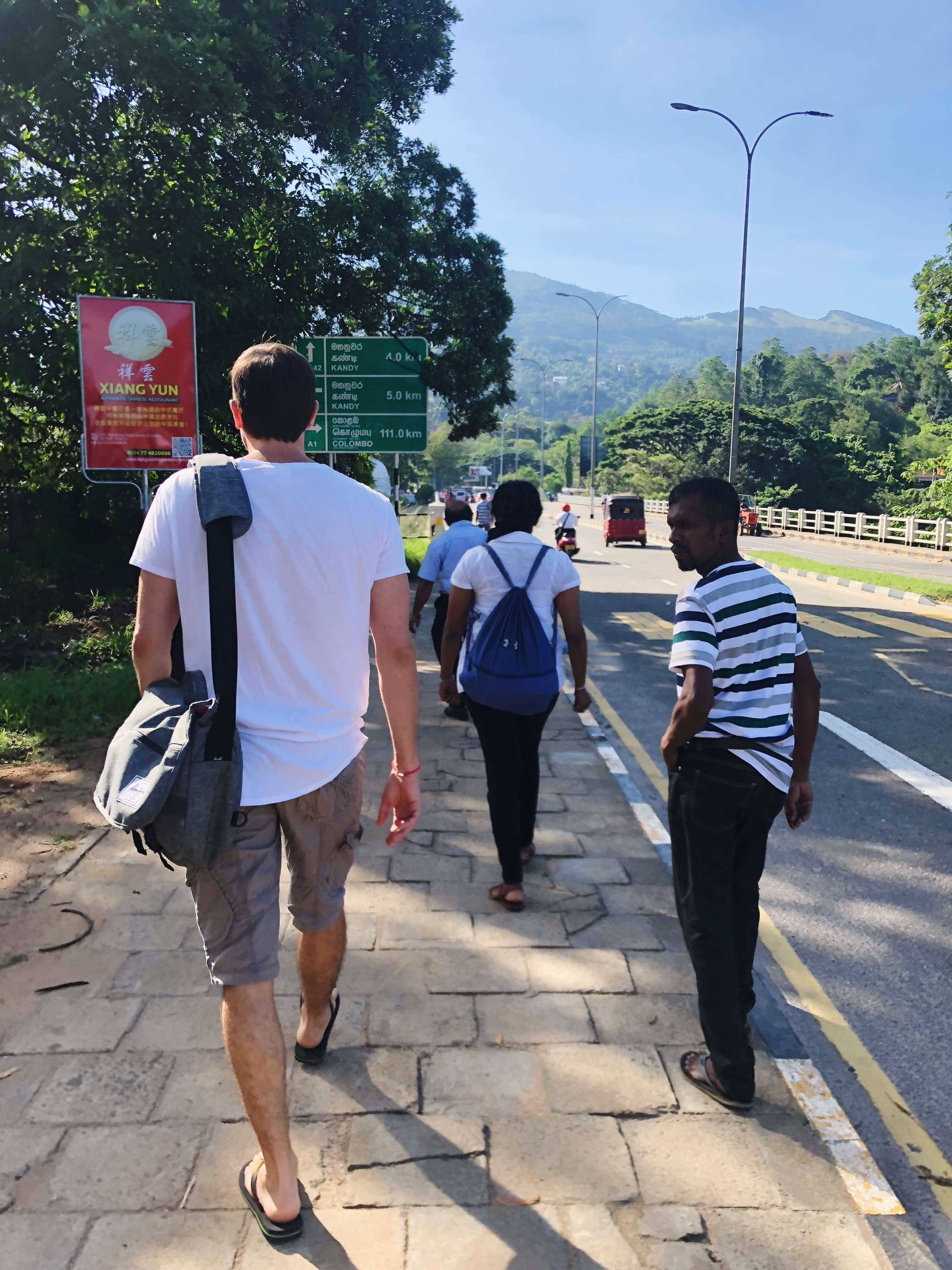 Walking to the Bus Stop in Kandy, Sri Lanka